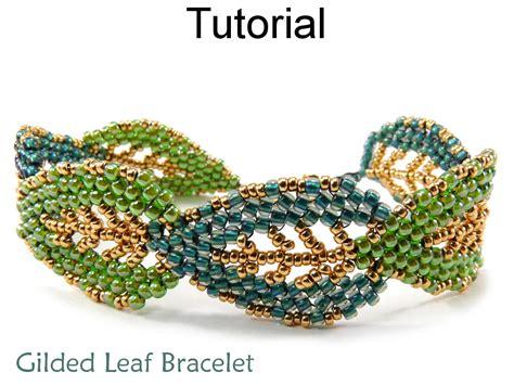 beaded peyote bracelet pattern leaf bracelet jewelry tutorial beading pattern