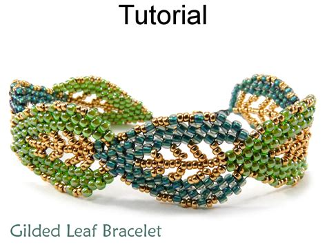 Leaf Bracelet Jewelry Making Tutorial Beading Pattern Russian Leaves Diagonal Peyote Fall Autumn