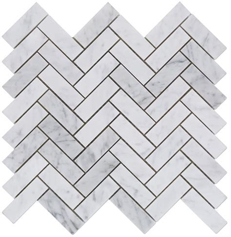 1x3 Italian White Carrara Herringbone Pattern Honed Mosaic