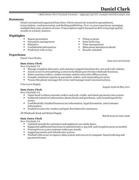 Data Entry Resume Exles Sles Best Data Entry Clerk Resume Exle Livecareer