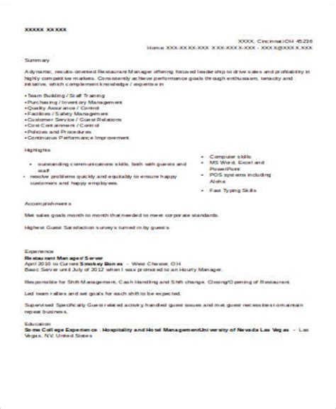 Sle Restaurant Server Resume 6 Exles In Word Pdf Free Resume Templates For Restaurant Servers