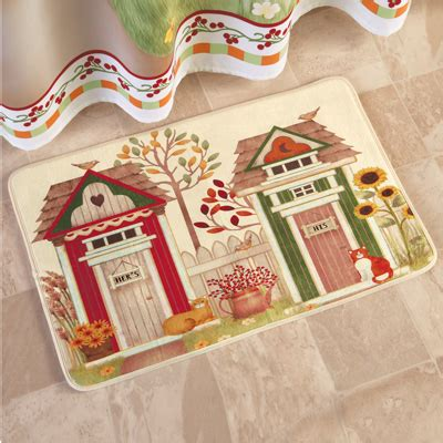 his and hers bathroom rugs country his and hers outhouse bath rug from collections etc
