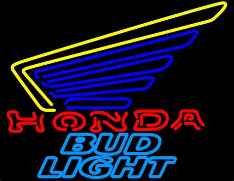 bud light gold can bud light honda motorcycles gold wing neon sign neon