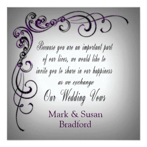Wedding Vows Border by Wedding Exchange Vows Gray Purple Border Invitation Zazzle
