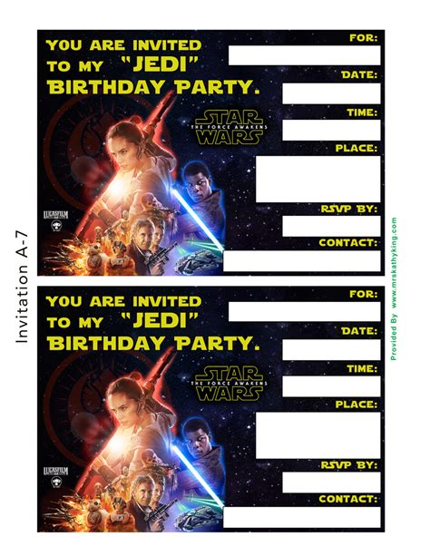 wars birthday invitation template free wars the awakens printable