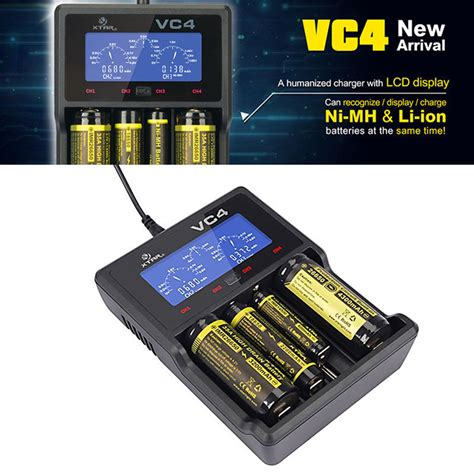 Gratis Ongkir Usb Battery Travel Charger For Ni Mh Aa Aaa Battery xtar vc4 lcd usb battery charger power for li ion ni mh 18650 26650 32650 2a 3a ebay