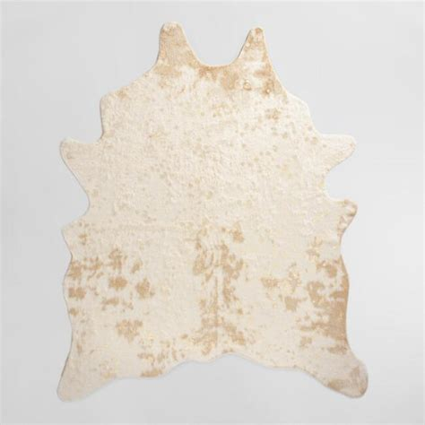 faux cow print rug gold printed faux cowhide area rug world market