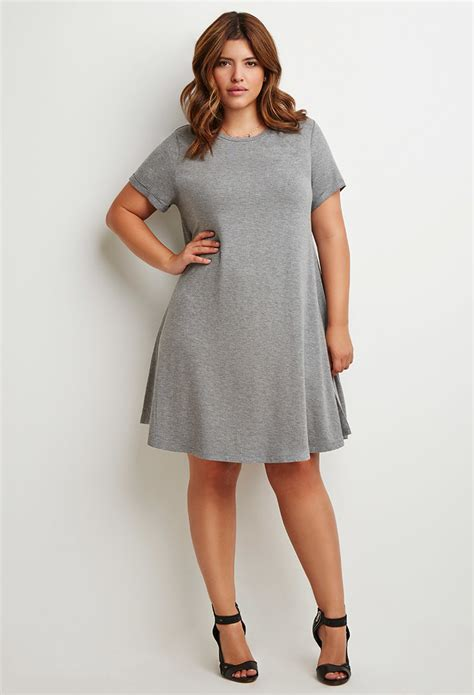 A Line T Shirt Dress lyst forever 21 plus size a line t shirt dress in gray