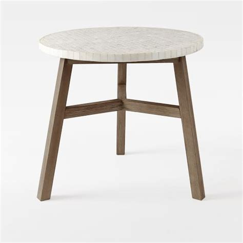 White Bistro Table Mosaic Tiled Bistro Table White Marble Top Driftwood Base West Elm