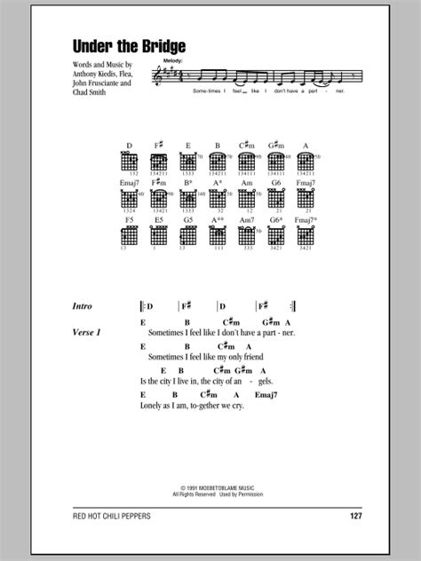 under the bridge chords by red hot chili peppers melody under the bridge by red hot chili peppers guitar chords