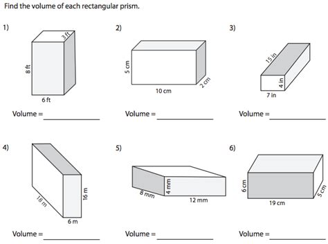 Volume Rectangular Prism Worksheet by World 7 Geometry Osky 6th Grade Math
