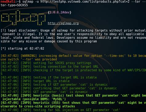 sqlmap tutorial in kali linux sqlmap with tor for anonymity kali linux hacking tutorials