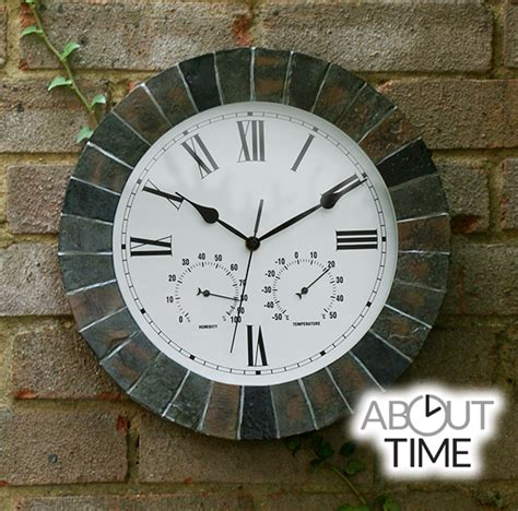 Garden Clock by Slate Effect Outdoor Garden Clock With Thermometer 35