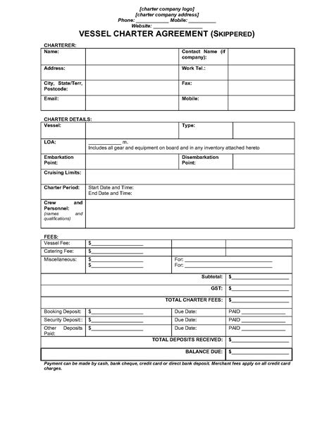 boat charter agreement forms australia skippered vessel charter agreement legal forms