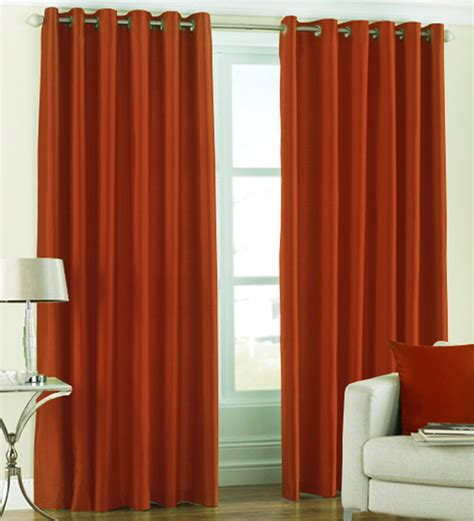 rust drapes pindia solid rust window curtains set of 2 5 ft by