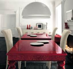 Houzz Dining Room Tables by Red Dining Table With White High Backed Chairs By Altamoda