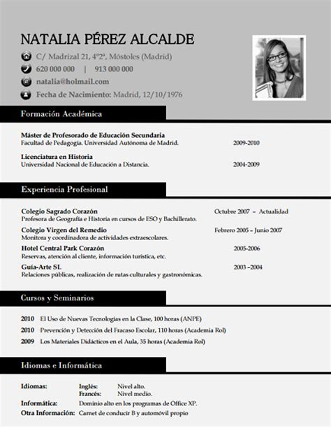 Plantilla De Sintesis Curricular Elaboraci 243 N Curriculum De Profesores Plantillas De Cv Para Enviar A Colegios Privados