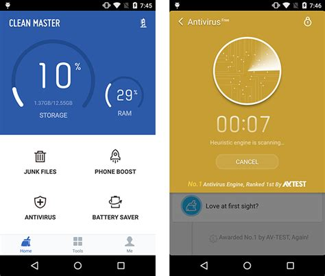 clean master antivirus for androids test cheetah mobile clean master 5 14 for android 164410 av test