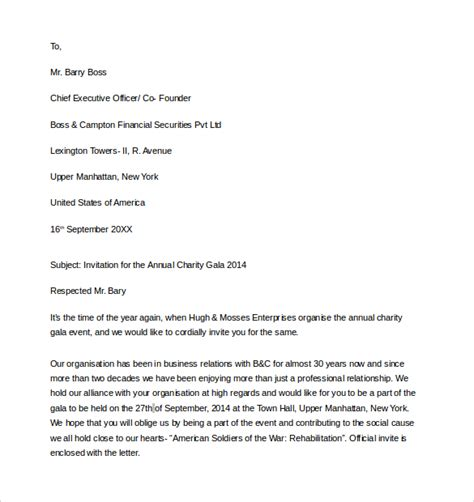 sle of formal letter of invitation business invitation letter 9 download free documents in