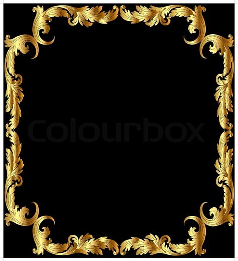 illustration frame from gild with pattern on black background stock vector colourbox