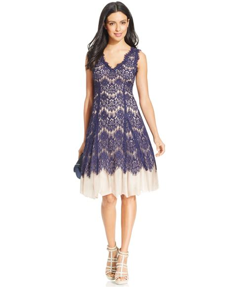 Lace A Line Dress lyst betsy adam lace overlay tulle a line dress