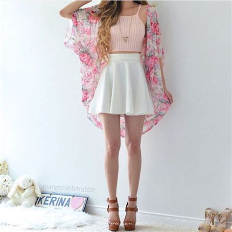 Crop Girly Om crop top fashion girly hey pink sup wedges skate skirt floral