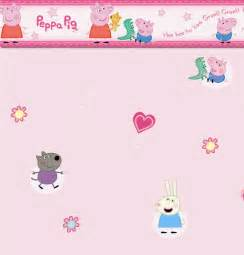 Light Pink Bedroom Accessories - peppa pig and george border