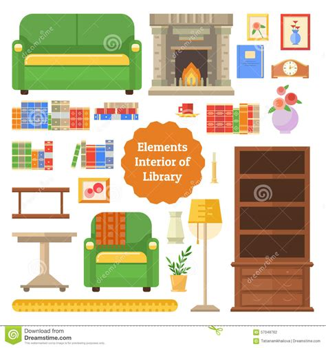 home design elements reviews elements of the interior library or cabinet stock vector image 57048762