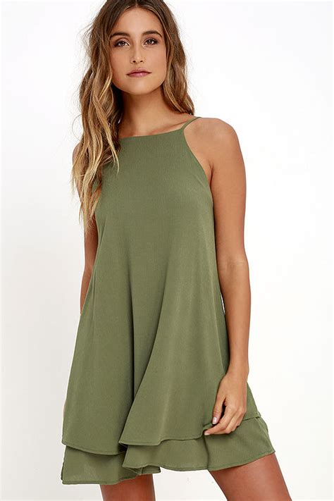 cute olive green dress swing dress sun dress