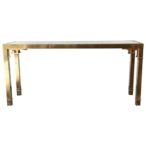greek key table l brass and glass greek key console table by mastercraft for