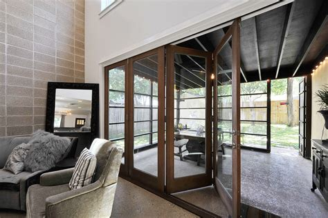 Accordion Doors Patio Transitional With Accent Wall Cinder Accordian Glass Doors