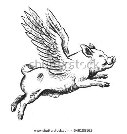 Pretty Gracious Flying Winged Cow Vector Stock Vector ... Flying Pig Drawing