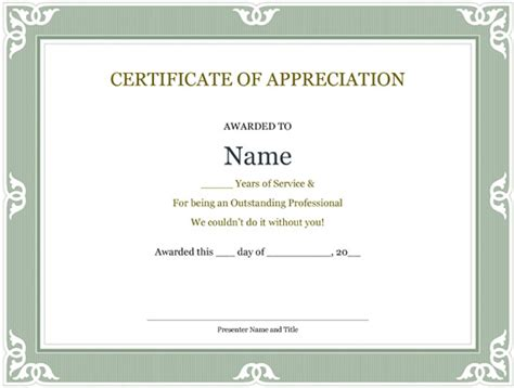 5 printable years of service certificate templates word
