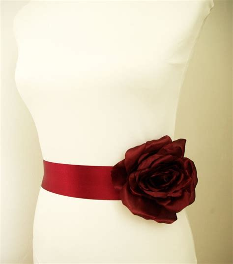 Pevita Dress Maroon Belt burgundy bridal sash fall wedding sash burgundy flower sash belt by nia person
