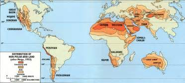 World Map Deserts by Distribution Of Non Polar Arid Land