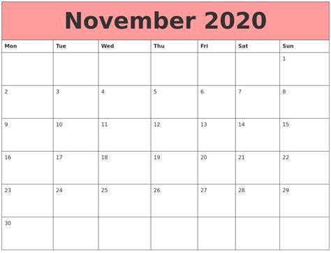 Calendars That Work With November 2020 Calendars That Work