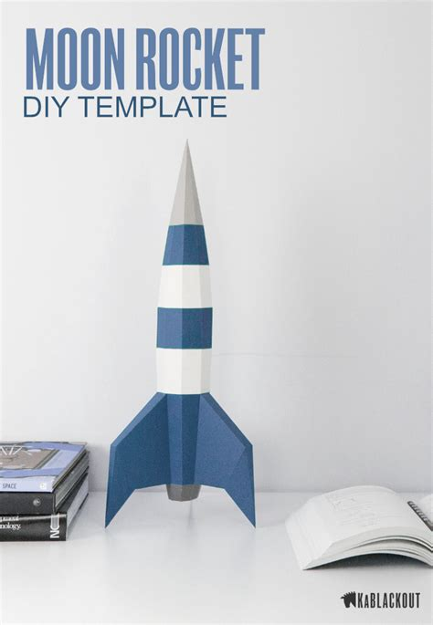 Printable Rocket Template Make Your Own Low Poly 3d Rocket This Elegant Diy Papercraft Rocket 3d Rocket Template Printable