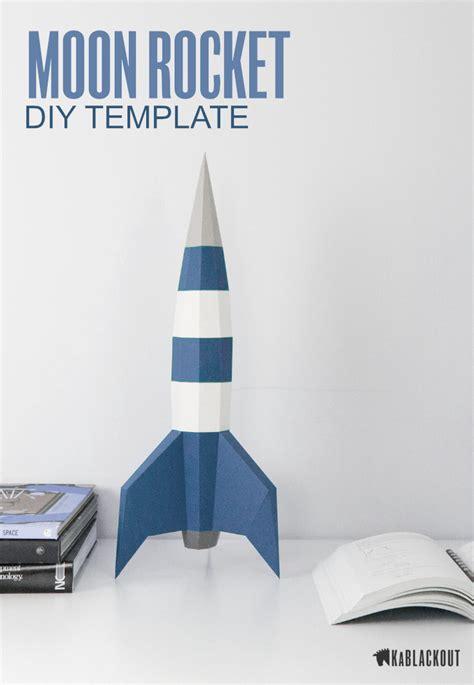 Papercraft Rocket Template Diy Moon Rocket 3d Paper Spaceship Low Poly Spacecraft Retro Sci 3d Rocket Template Printable