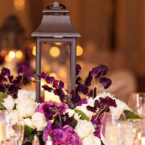 wedding centerpieces with flowers and lanterns 37 trendy purple wedding table decorations table