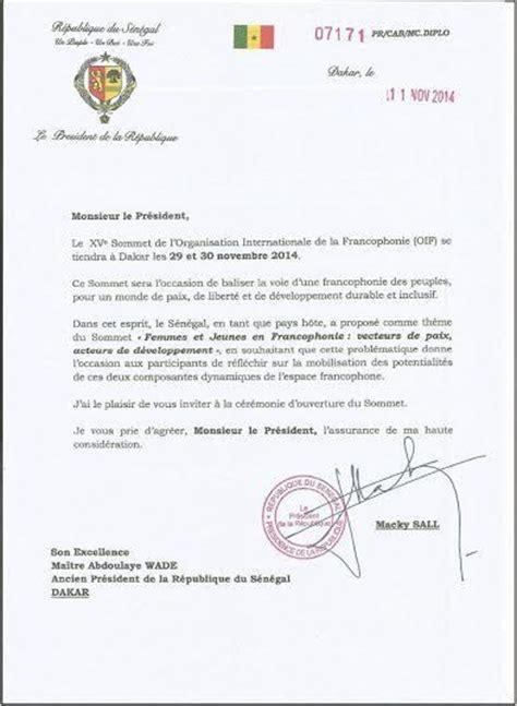 Exemple De Lettre D Invitation Reception Sommet Francophonie La Lettre Sal 233 E De Wade 224 Macky Sall Pour D 233 Cliner Invitation