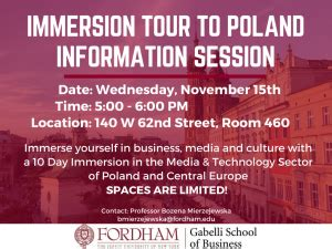 Fordham Mba Information Session by G Information Session Immersion Study Tour To Poland