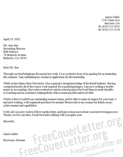 cover letter exle internship cover letter in accounting