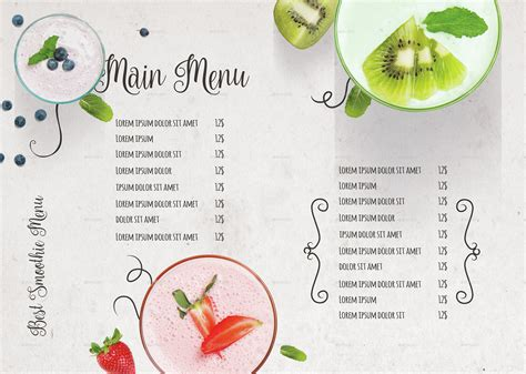 A Menu For Iii by Smoothie Menu Iii By D S Graphicriver