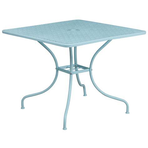 35 5 square sky blue indoor outdoor steel patio table