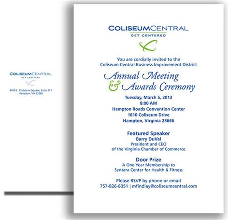 annual meeting invitation template annual meeting and awards ceremony invitation and return