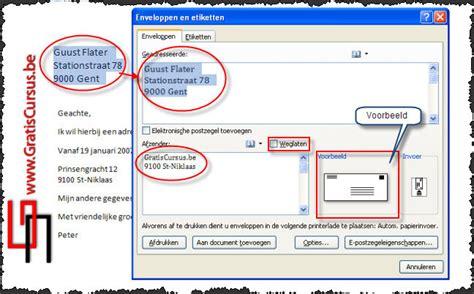 Brief Word Samenvoegen Adressen Excel Gratis Cursus Word 2007 Enveloppen