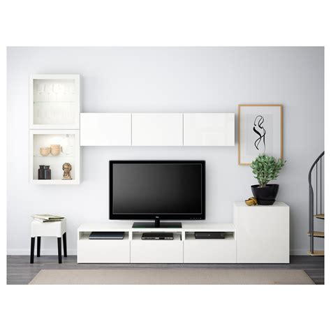 Besta Tv Wand by Best 197 Tv Storage Combination Glass Doors White Selsviken