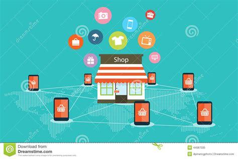 eonline mobile mobile shopping on line vector background stock