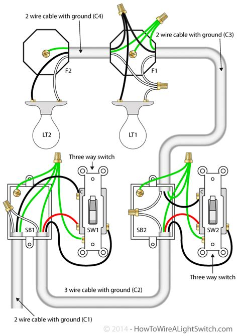 three way switch wiring diagram two lights