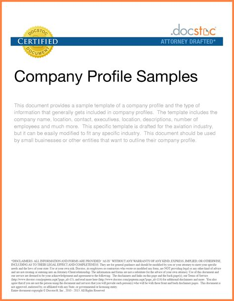 9 sle of company profile for small business company